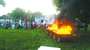 An estimated 600 flags were burned during the annual Southport Flag Retirement Ceremony.
