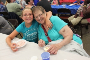 Guests enjoy the ice cream at the 2014 Ice Cream Social.